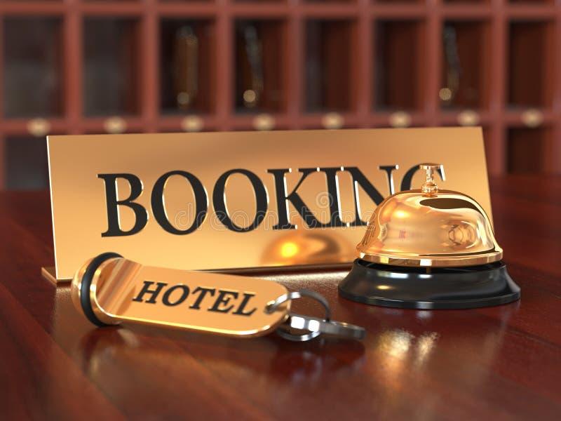 Het boeken het concept van de hotelruimte royalty-vrije illustratie