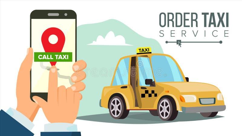 Het boeken van Taxi via Mobiele App Vector Overhandig holdingssmartphone De taxi Opdracht gevende tot Dienst Online Mobiele Taxio royalty-vrije illustratie