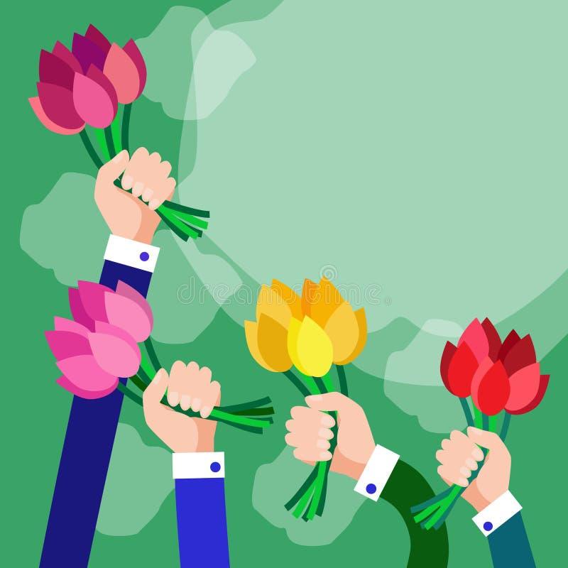 Het boeket bloeit het Exemplaarruimte van de Bedrijfshandengroep royalty-vrije illustratie