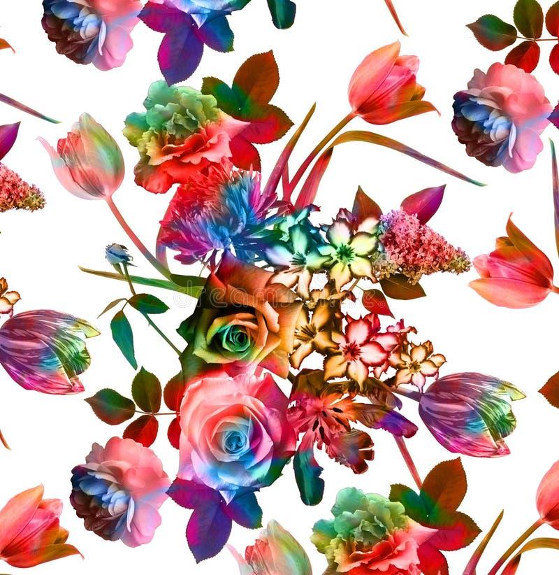 Het boeket bloeit patroonachtergrond royalty-vrije stock afbeelding