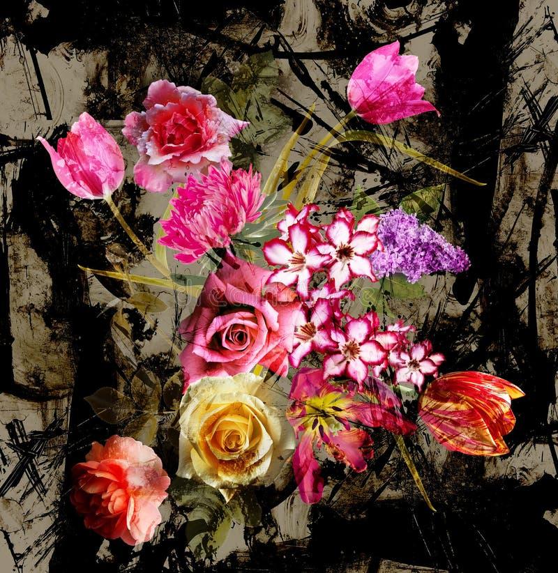 Het boeket bloeit patroonachtergrond stock afbeeldingen