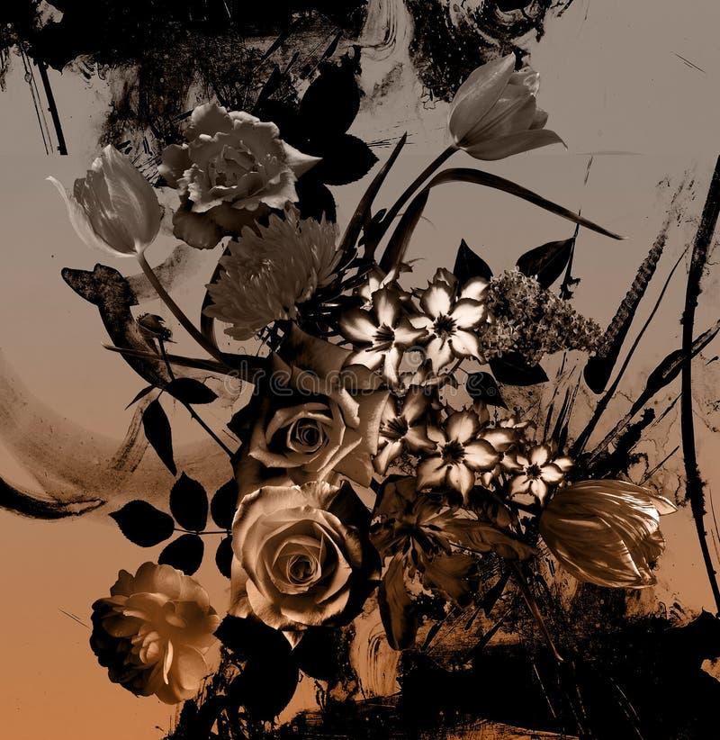 Het boeket bloeit patroonachtergrond royalty-vrije stock afbeeldingen