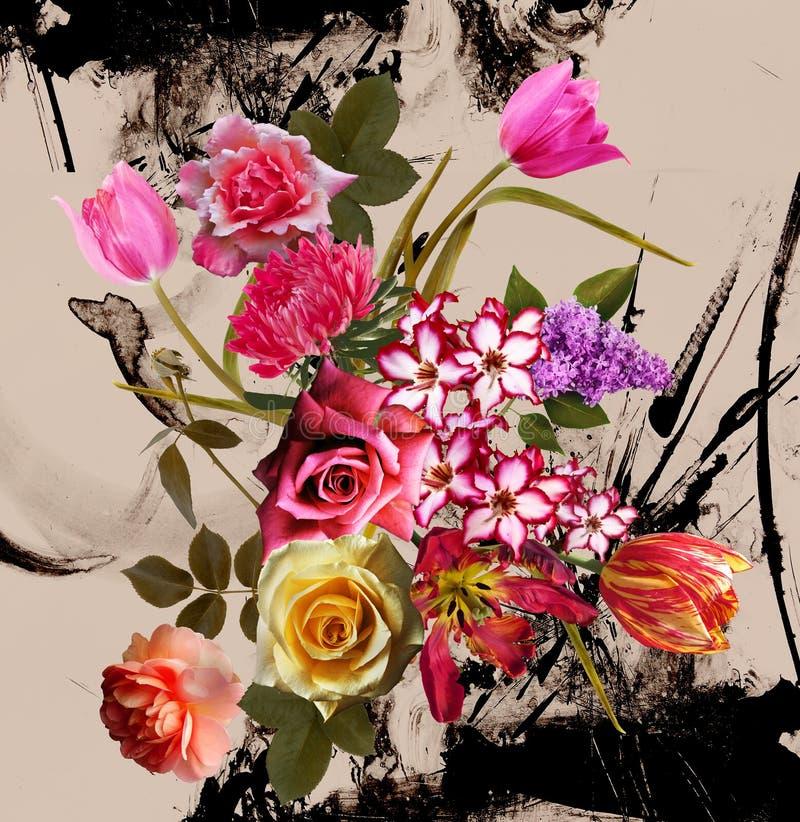 Het boeket bloeit patroonachtergrond stock foto