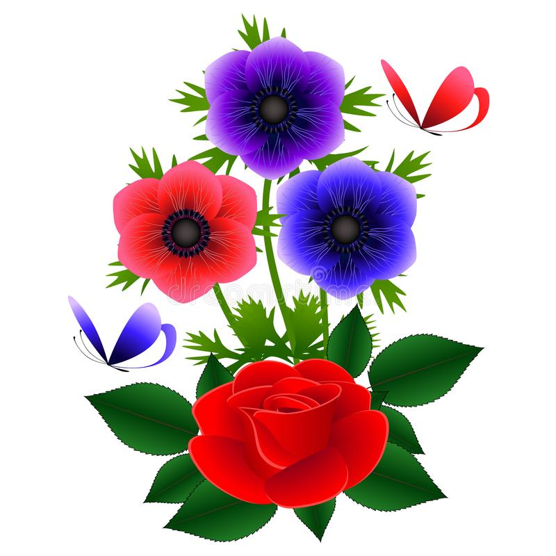 Het boeket van anemonen met een rood nam en vlinders toe stock illustratie