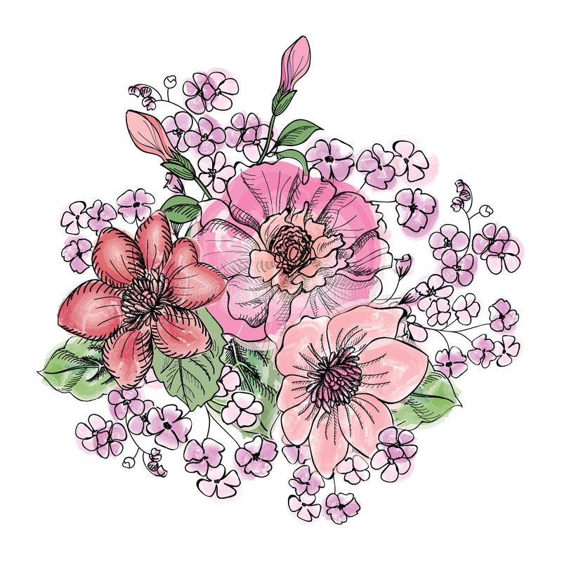 Het boeket van de bloem Bloemen frame Bloei groetkaart Het bloeien F vector illustratie