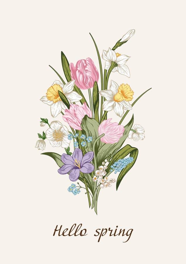 Het boeket van de lente van bloemen Bloemen achtergrond royalty-vrije stock afbeeldingen