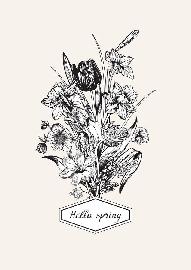 Het boeket van de lente van bloemen Bloemen achtergrond stock fotografie