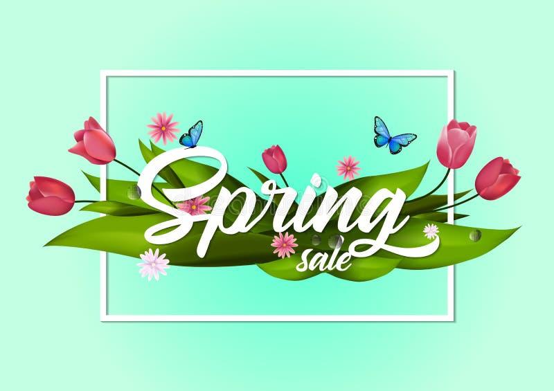 Het boeket van de tulpenbloem Vector illustratie De tekst van de de lenteverkoop op blauwe achtergrond wordt geïsoleerd die vector illustratie