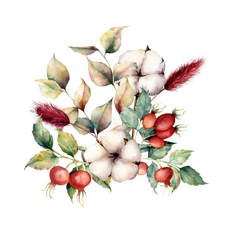 Het boeket van de waterverfherfst met bloemen en installaties Geschilderde hand dogroses, katoenen bloemen, lagurus, bladeren en  royalty-vrije illustratie