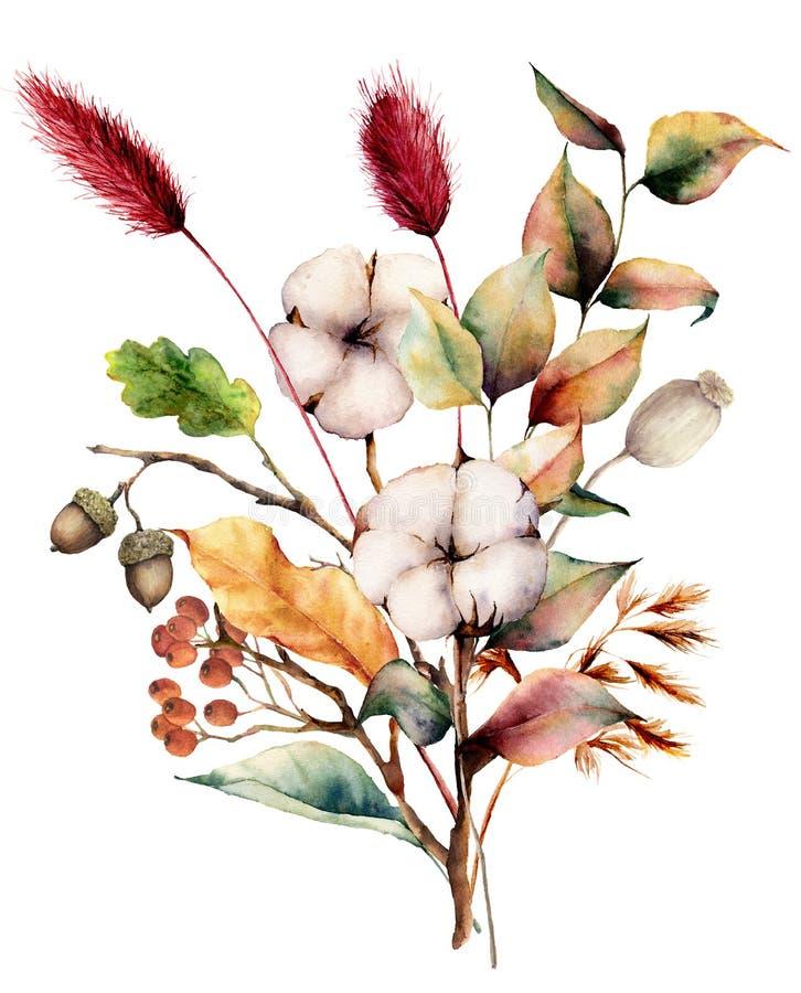 Het boeket van de waterverfherfst met installaties, bloemen en bessen Hand geschilderde katoenen bloemen, lagurus, eikel, bladere royalty-vrije illustratie