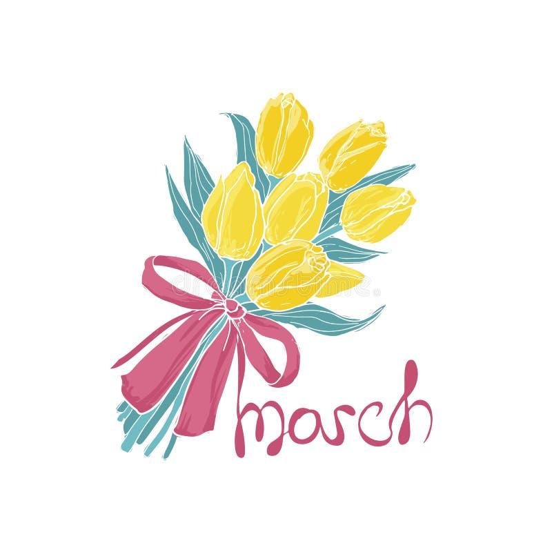 Het boeket van gele tulpen bond met elegant roze lint en 8 maart-inschrijving Bos van mooie de lentebloemen royalty-vrije illustratie