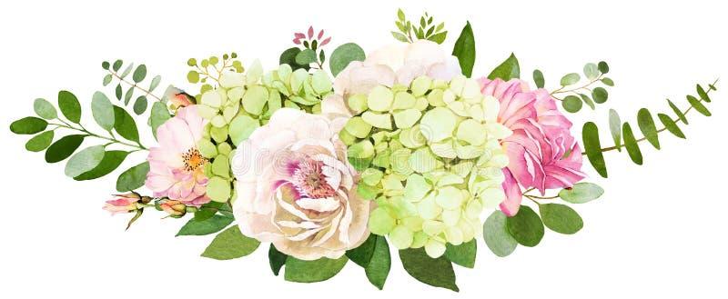 Het boeket van het huwelijk De pioen, Hydrangea hortensia en nam bloemenwaterverf IL toe royalty-vrije illustratie