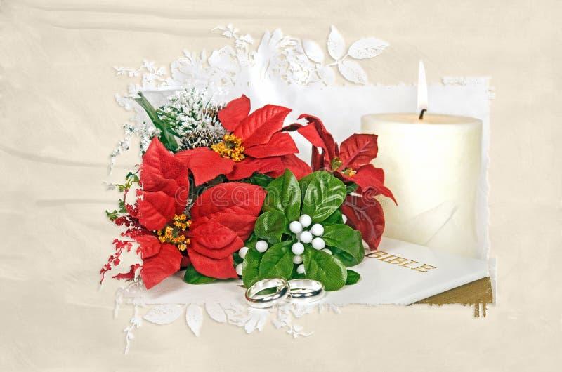 Het boeket van Kerstmispoinsettia met trouwringen stock afbeelding