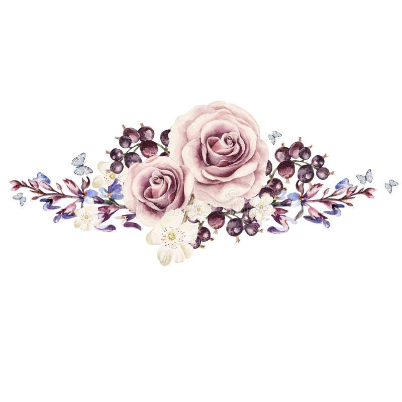 Het boeket van lavendelbloemen, anemoon en nam toe royalty-vrije illustratie