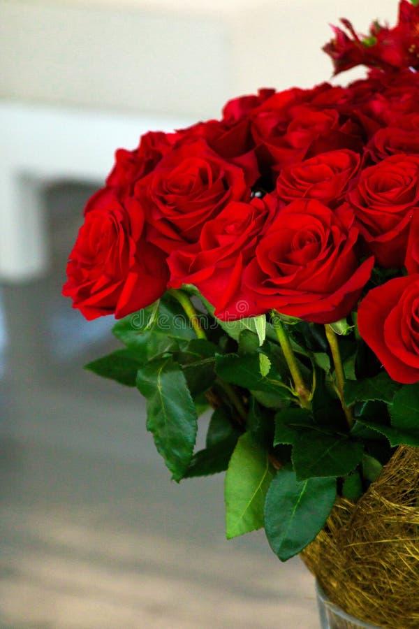 Het boeket van rode rozen royalty-vrije stock afbeeldingen