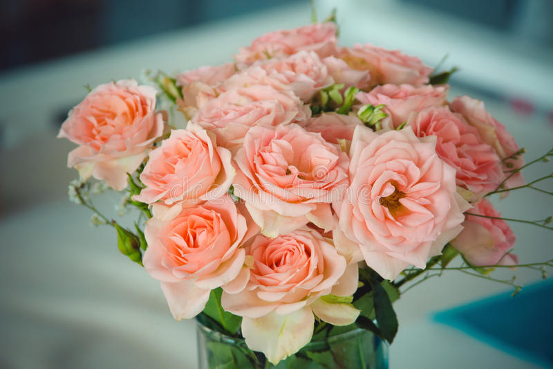 Het boeket van roze rozen stock foto