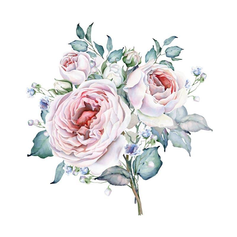 Het boeket van rozen De bloemen van de waterverf Witte en roze rozen stock illustratie