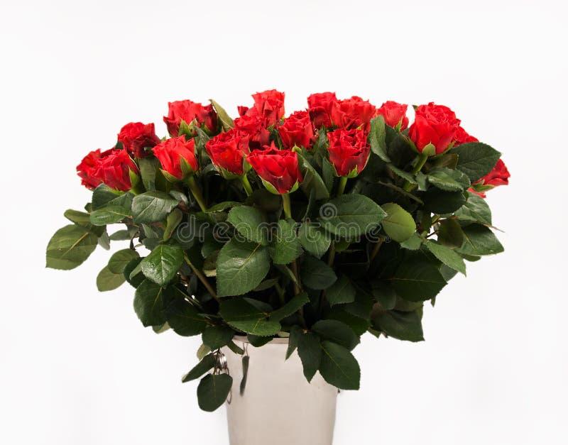 Het boeket van rozen op witte achtergrond, croped versie, Groot boeket van rode rozen, verjaardagsboeket, vele rode die rozen in  stock foto