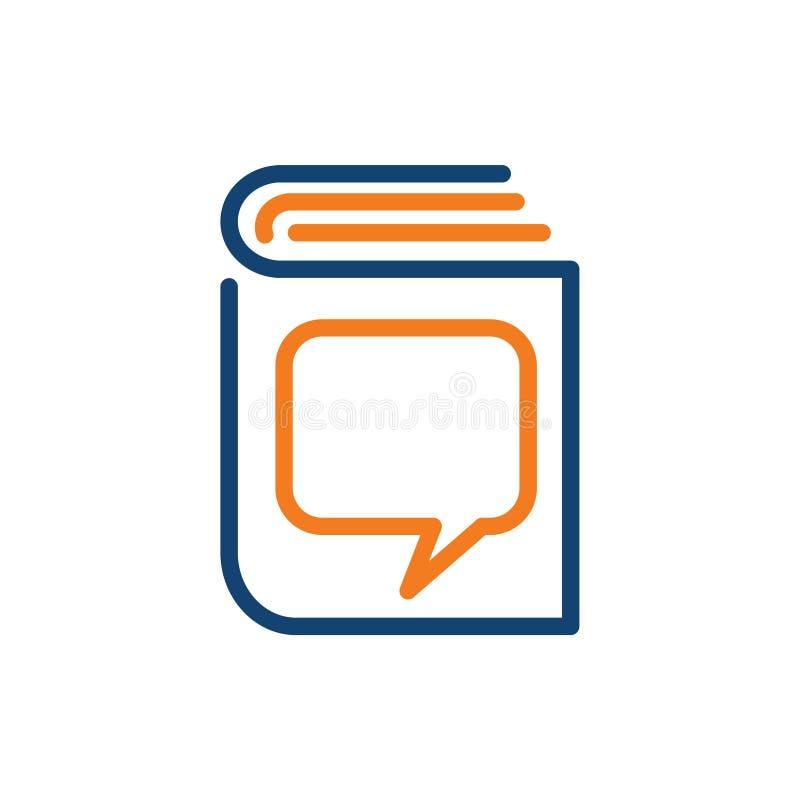 Het Boeklijn Art Education Business Logo Icon van de adviesdialoog vector illustratie