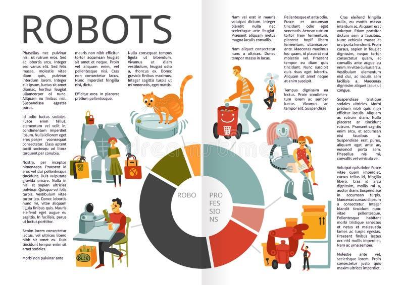 Het Boekpagina's van robotsinfographics stock illustratie