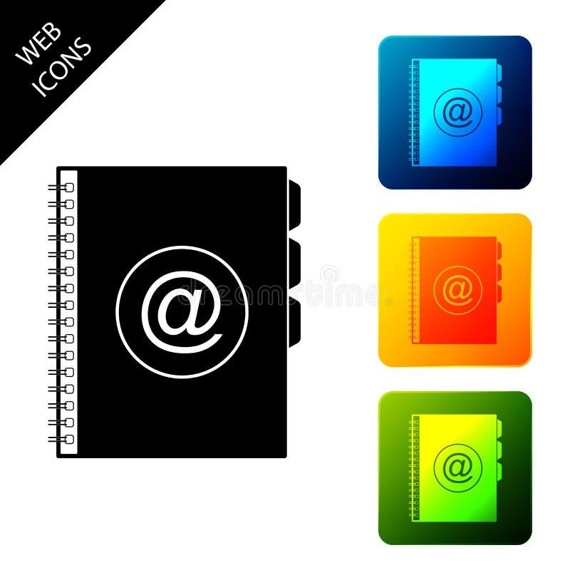 Het het boekpictogram van het adres dat op witte achtergrond wordt geïsoleerd Laptop, adres, contact, folder, telefoon, het picto stock illustratie