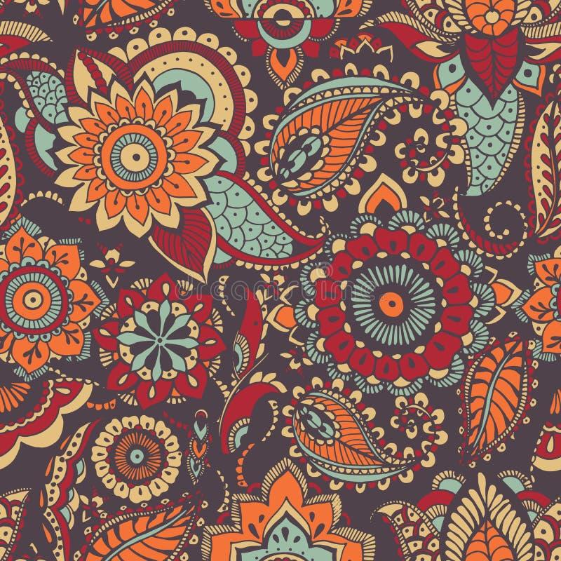 Het bont oosterse naadloze patroon van Paisley met kleurrijke van butamotief en mehndi elementen op donkere achtergrond Gekleurd  stock illustratie