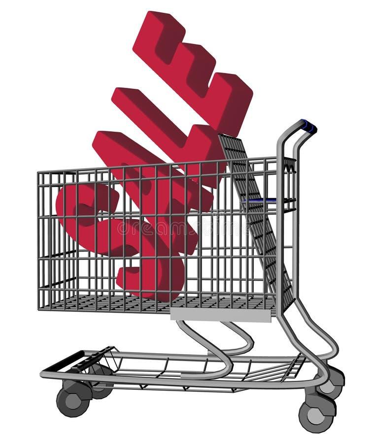 Het Boodschappenwagentje van de verkoop royalty-vrije illustratie