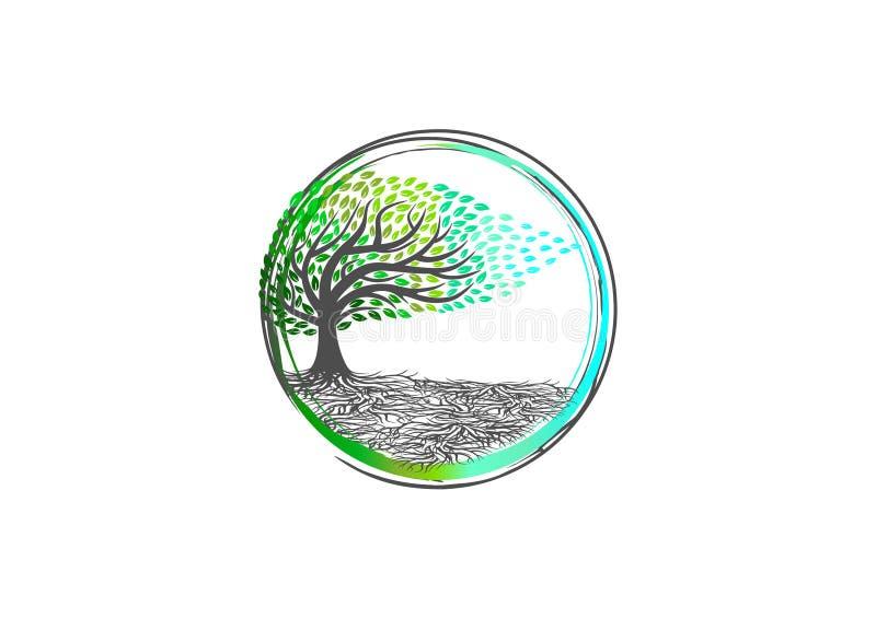 Het boomembleem, aardyoga, installatie ontspant symbool, kuuroordpictogram, organisch massageteken, betekeniswellness en wortel g vector illustratie