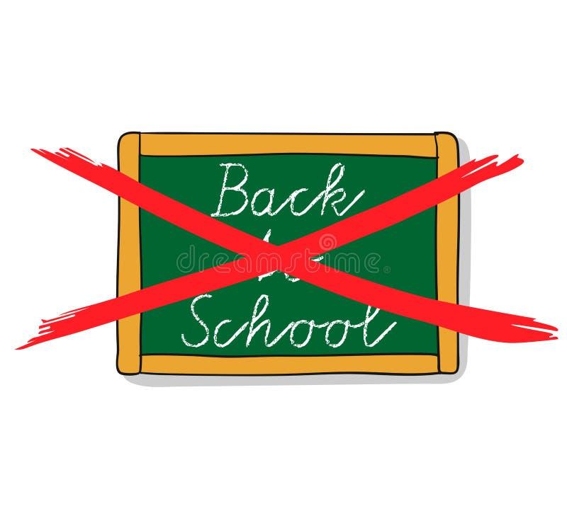 Het bord met het doorgestreepte hand van letters voorzien - terug naar school - overhandigt getrokken vectorillustratie royalty-vrije illustratie
