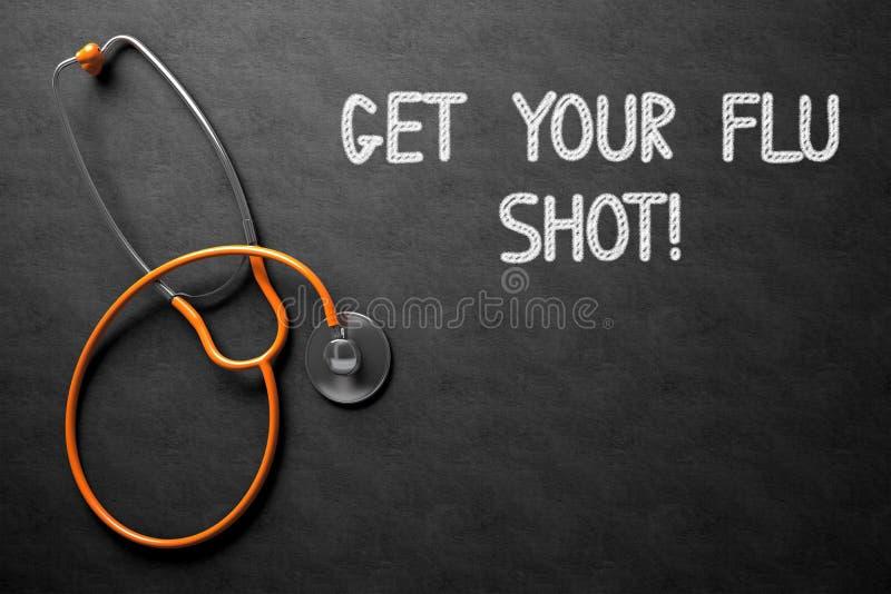 Het bord met krijgt Uw Griep Geschoten Concept 3D Illustratie stock foto