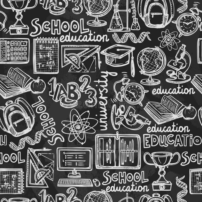 Het bord naadloos patroon van het schoolonderwijs vector illustratie