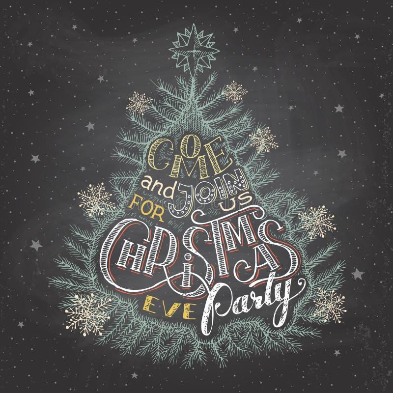 Het bord van de de partijuitnodiging van de Kerstmisvooravond royalty-vrije illustratie