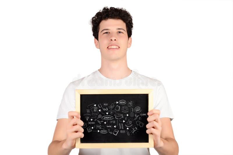 Het bord van de mensenholding met graduatieschets royalty-vrije stock fotografie
