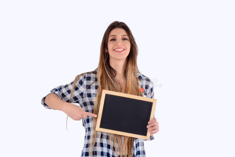 Het bord van de vrouwenholding stock foto's
