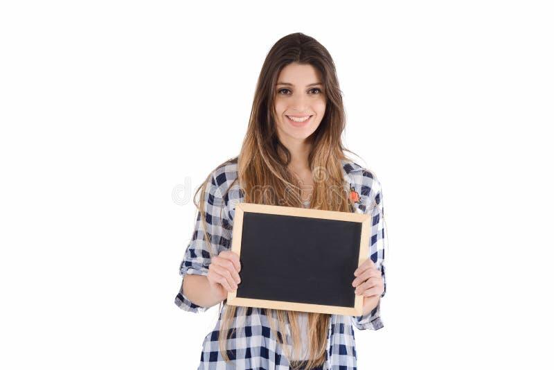 Het bord van de vrouwenholding stock foto