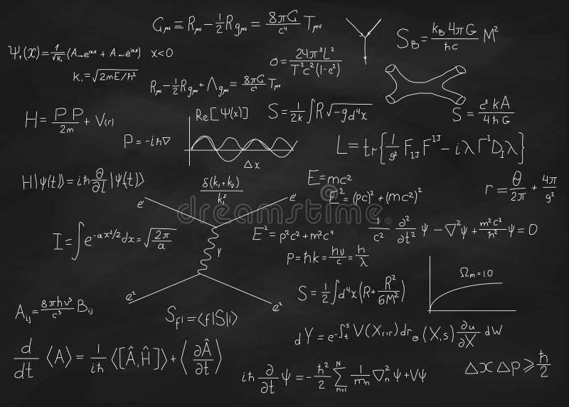 Het bord van fysicavergelijkingen stock illustratie
