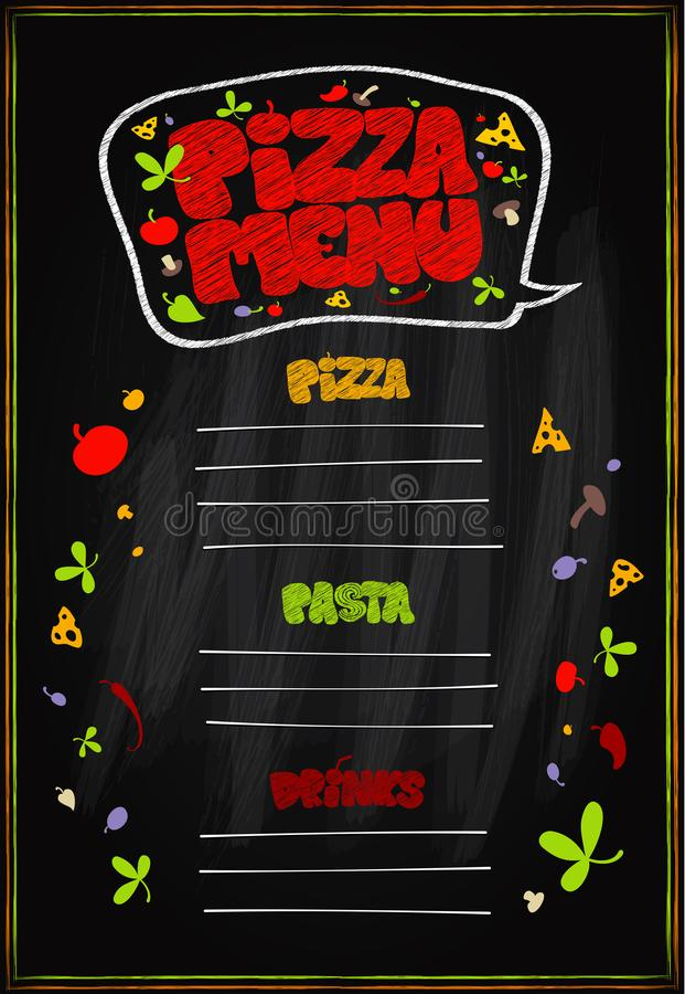 Het bord van het pizzamenu, lege ruimte voor tekst Pizza, deegwaren en drankenmenu royalty-vrije illustratie