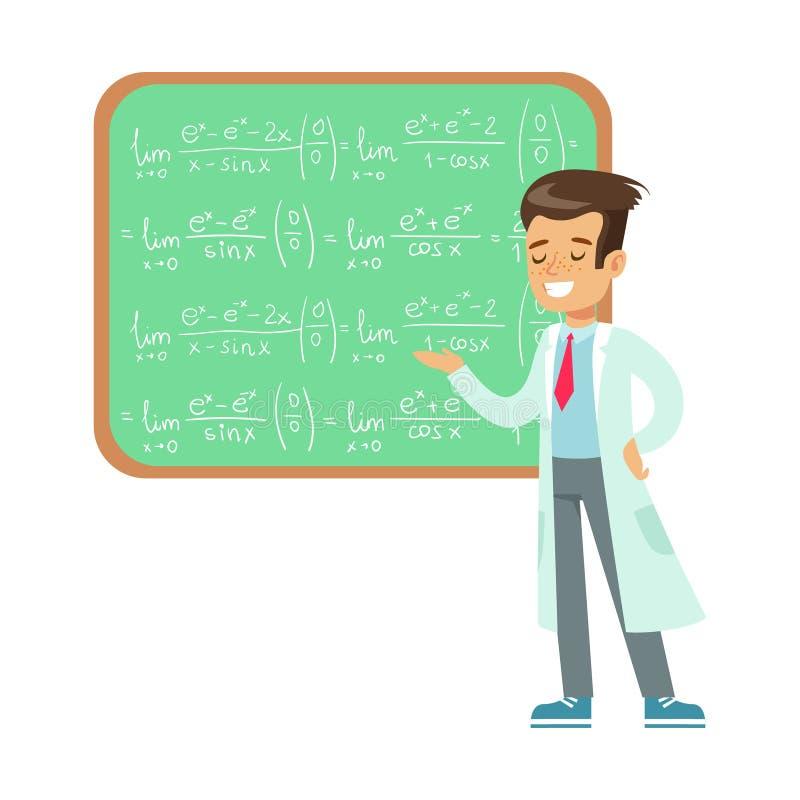 Het Bord van Writing Formulas On van de jongenswiskundige, Jong geitje die het Onderzoek doen die van de Wiskundewetenschap van P vector illustratie