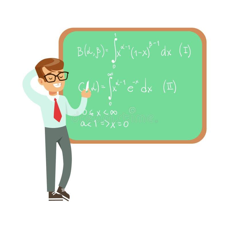 Het Bord van Writing Formulas On van de jongenswiskundige, Jong geitje die Wetenschapsonderzoek doen die van het Worden dromen Pr stock illustratie