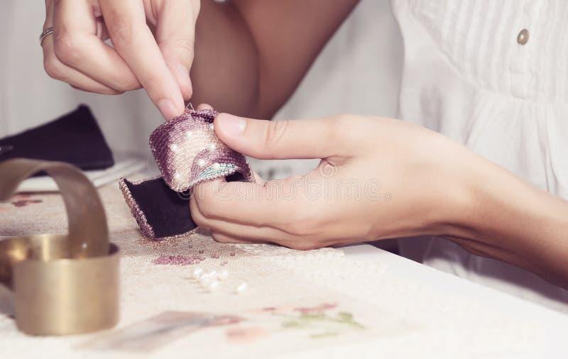 Het borduren pareljuwelen royalty-vrije stock foto