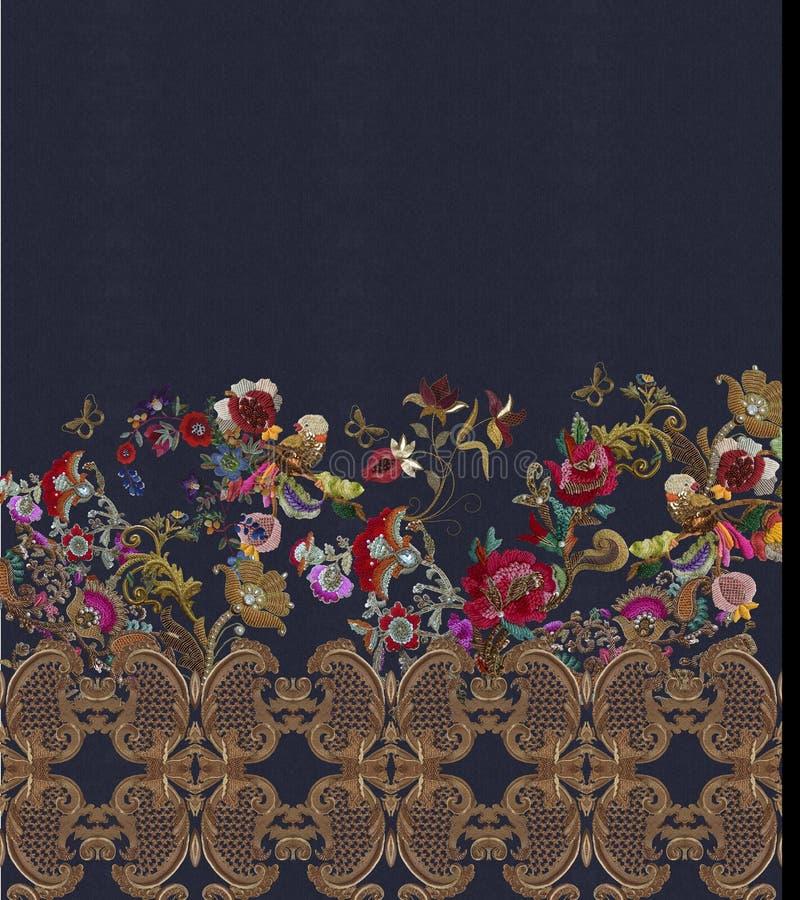 Het borduurwerk bloeit barokke gouden stijl royalty-vrije stock fotografie