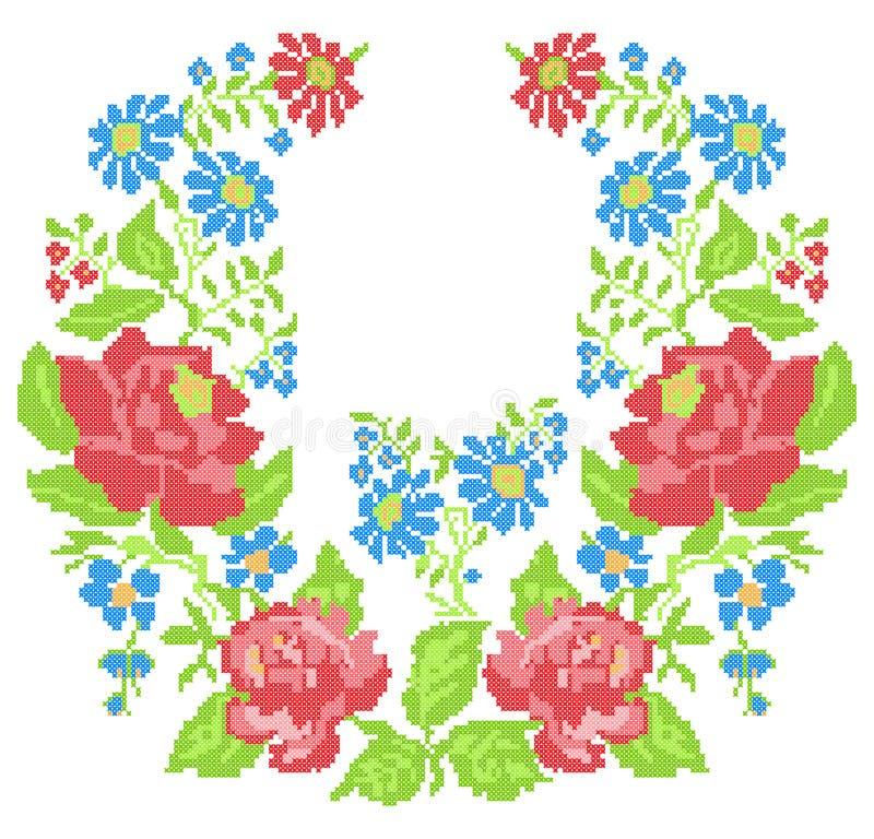 Het borduurwerk van de halslijn (dwars-steek) met rozen vector illustratie