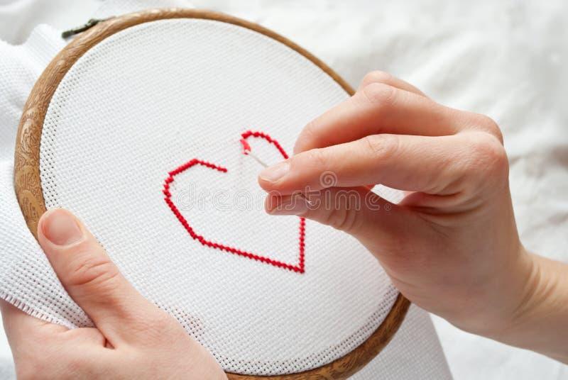 Het borduurwerk van het hart stock fotografie