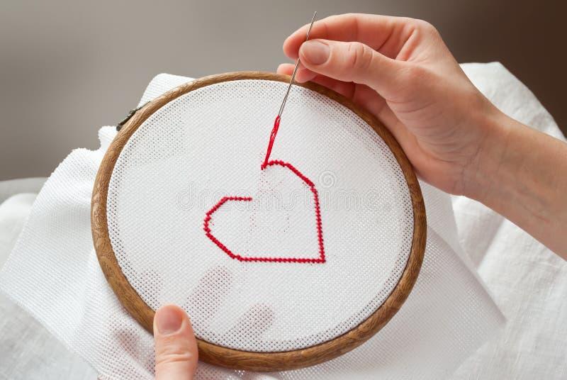 Het borduurwerk van het hart stock afbeeldingen