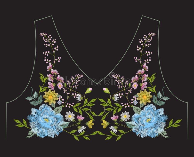 Het borduurwerk vereenvoudigde het etnische bloemenpatroon van de halslijn met blauw vector illustratie