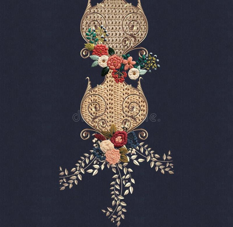 Het borduurwerkbloemen van de jeanstextuur vector illustratie