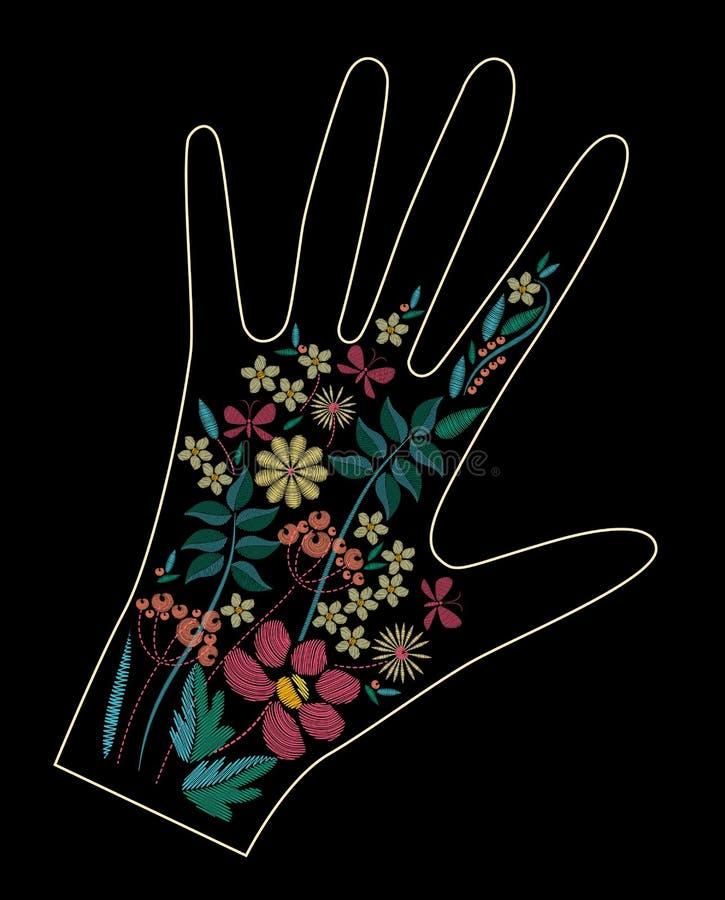 Het borduurwerkontwerp van de satijnsteek met kleurrijke bloemen Volkslijn bloemen in patroon op handschoendecor Etnische manier royalty-vrije illustratie