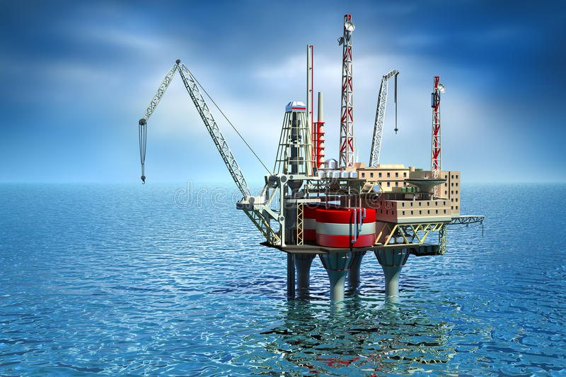 Het boren van zeePlatform in overzees. royalty-vrije illustratie