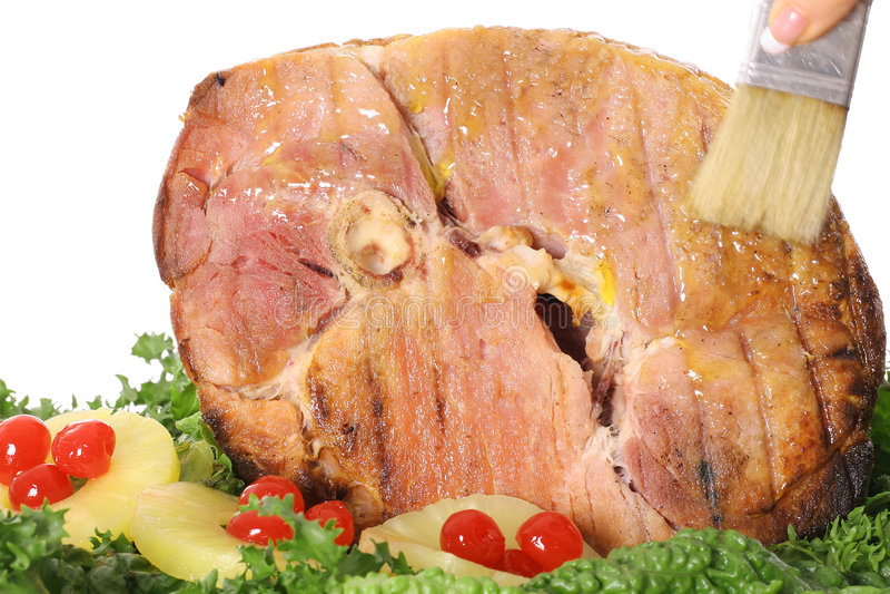 Het borstelen van ham met glans stock afbeeldingen