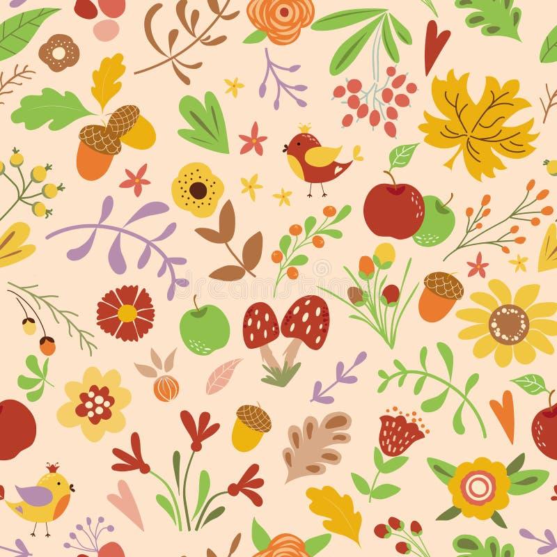 Het bos naadloze patroon met leuke bloemen schiet illustratie van vogels de Vectorjonge geitjes, natuurlijke achtergrond in kinde royalty-vrije illustratie